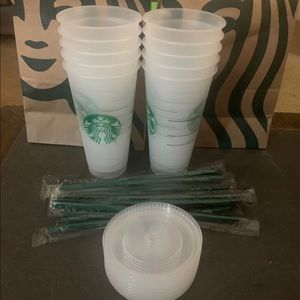 Starbucks Lot of 10, Reusable Frosted Cold Cups